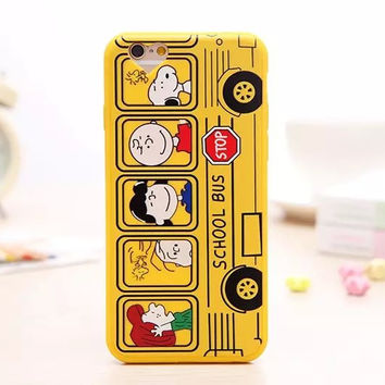 Cute 3D Cartoon Charlie Brown Soft Lovely Yellow Phone Back Cover Case For Apple iPhone 6 6s 4.7'