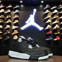 DCCKIJ2 Kid's Air Jordan 4 Retro Leather Basketball Shoes Black White