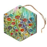 "Rosie Brown ""Klimt Inspired"" Multicolor Floral Nature Painting Hexagon Holiday Ornament"