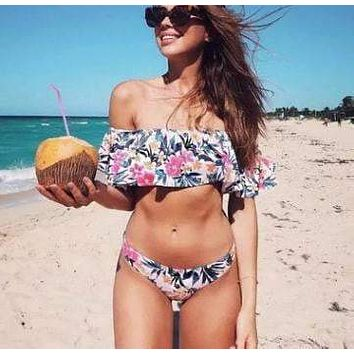 Vintage Garden Floral Print Off Shoulder Bikini Swimsuit
