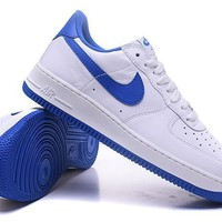 Nike Air Force 1 One Classic White / Blue Low Running Sport Casual Shoes 845053-102 Sneakers