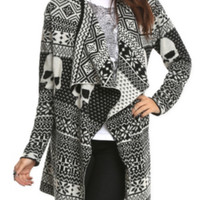 Iron Fist Black White Skull Cardigan