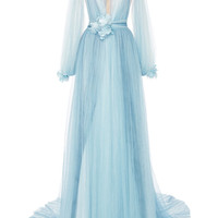 Tulle Grecian Gown With Billowing Sleeves | Moda Operandi