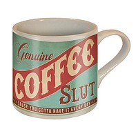 Coffee Slut Ceramic Mug in Mint and Red | Vintage Style | Design on Both Sides | In a Gift Box