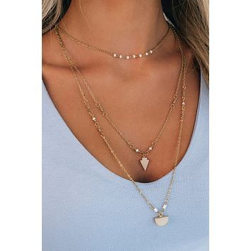 Hang Around Me Layered Necklace (White)
