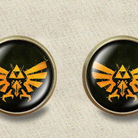 Hylian Crest Earrings - Legend of Zelda earrings with crest under glass plated stud post earrings ready for gifting