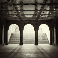 New York Trilogy - Black and White Photography, NYC Art, Bethesda Terrace Arches, Classic Architecture in Central Park, Manhattan