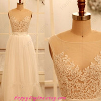 White long lace prom dress/ wedding party dress/ reception dress 2014