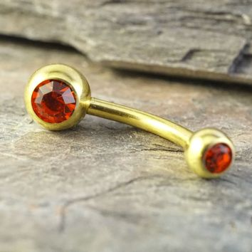 Simple Red Crystal Gold Belly Button Ring Jewelry