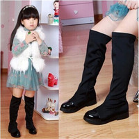 2016winter  female child boots child stretch fabric over-the-knee boots with a single casual shoes boots high-leg