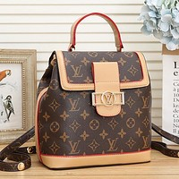 Louis Vuitton Women Fashion Leather Tote Backpack Daypack Bookbag