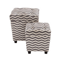 The Funky Set of 2 Wood Fabric Ottoman