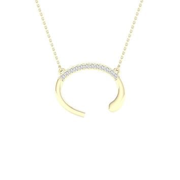 10k Yellow Gold Round Diamond Initial C Letter Necklace 1/20 Cttw