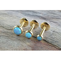 Gold Light Blue Fire Opal 16 Gauge Cartilage Earring Tragus Monroe Helix Piercing You Choose Stone Size