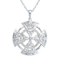 "Sterling Silver Diamond Celtic Trinity Knot Cross Pendant Necklace , 18"" (1/4 Cttw, J Color, I3 Clarity)"