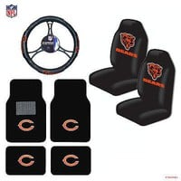 Licensed Official NFL Chicago Bears Car Truck Seat Covers Floor Mats Steering Wheel Cover