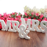 Wedding decorations 3 pcs/set Mr & Mrs romantic mariage decor Birthday Party Decorations Pure White wooden letters wedding sign
