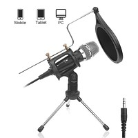DricRoda Microphone for Recording, 3.5mm Condenser Microphone Studio Broadcast Computer Microphone Mic with Tripod Stand, Pop Filter for Music, Karaoke, Gaming, Podcast,Conference,Facebook,YouTube X-2