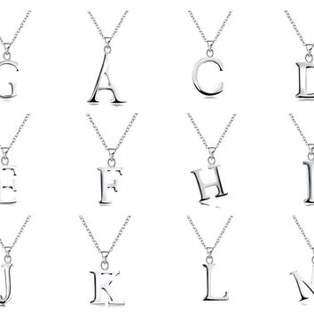 """Womens Dainty Silver English Capital Letter Initial Pendant Necklace 18"""" 925 Silver Chain Necklace"""