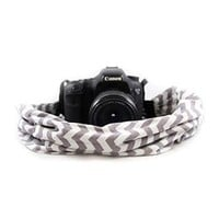 Grey And White Chevron Scarf Camera Strap - Capturing Couture - CASCARF-CVGG