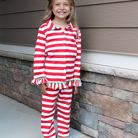 Red & White Stripe Long-Sleeve Top & Lounge Pants - Infant & Kids