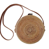 Round Circle Capri Crossbody Purse; Woven Bamboo / Rattan / Straw / Wicker Beach Bag Tote (Sold Out for March, PreOrder for April Shipment)