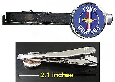 Image of retro Ford Mustang logo Tie Clip Clasp Bar Slide Silver Metal Shiny