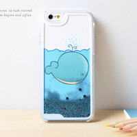 Whales Dynamic Liquid Blue Glitter Sand Quicksand Bling Clear iPhone 6 Plus case Retro flower Phone Case
