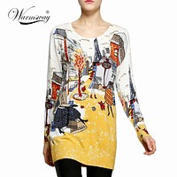 2017 fashion and high quality women's print pullover sweater long knitting sweater dress plus size loose basic sweater WS-025