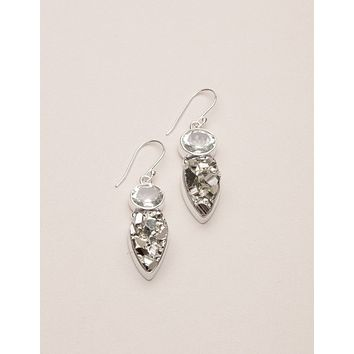 Natural Pyrite Silver Earrings