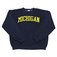 Vintage 90s Russell Athletic Michigan College Crewneck Sweatshirt Made in USA Mens Size Medium
