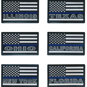 Tactical USA Blue Line Police State Flag 3D PVC Patches
