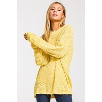 Pullover Popcorn Sweater - Yellow