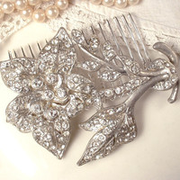 Brooch OR HAiR CoMB, 1920s Art Deco / Nouveau Clear Rhinestone, Pave Crystal TRUE Vintage Flower Bridal Brooch or OOAK Floral Comb Large