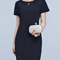 Casual Round Neck Vertical Striped Office Bodycon Dress