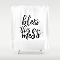 """Funny quote """"Bless This Mess"""" Funny Wall Art Bedroom Decor Funny Print Monday You Bastard Print Shower Curtain by PrintableLifeStyle"""