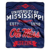 Mississippi Rebels NCAA Royal Plush Raschel Blanket (Label Series) (50x60)