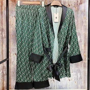 Fendi New fashion more letter  print long sleeve cardigan and pants night gown two piece suit Green