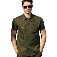 Tactical Short Sleeve Military Uniform Men Shirt Top Tee