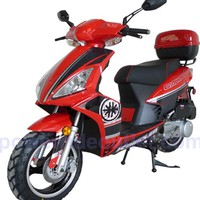 PRO FS126-Sports 4 Stroke 150cc Scooter with Honda GY6 Clone Engine, 13 inch Aluminum Wheels, Performance Muffler, Redesign Body Style, Fully Assembled Package (Free Rear Trunk)
