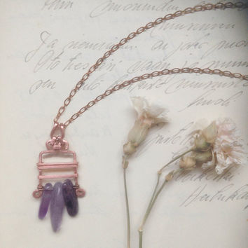 rhonda • purple amethyst necklace - gemstone copper necklace - bohemian witch jewelry - february birthstone - made in finland