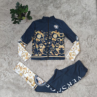 Versace new ladies fashion printed two-piece suit top + pants