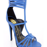 Blue Strappy Open Toe Single Sole High Heels Faux Leather