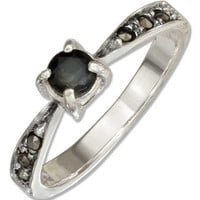 Sterling Silver Sapphire Ring With Marcasite Band