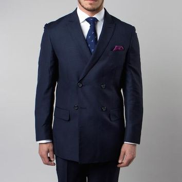 Navy Double Breasted Peak Lapel Slim Fit Suit