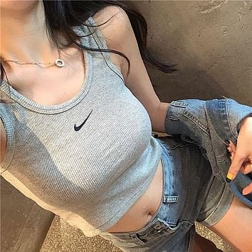 NIKE Summer wide-shoulder vest women's bottoming, slim fit, casual wear, solid color hook vest