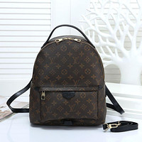 LV 2018 new classic checkerboard printing men and women casual retro backpack coffee print