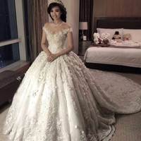 Luxury Flowers Wedding Dress With Long Train Empire Wedding Dress