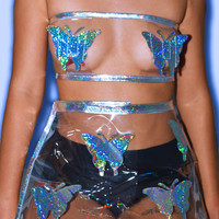 Women's Butterfly Caged Tube Top | Butterfly Pasties | Rave Tube Top | Hologram Harness | Holographic Plastic Top