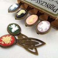 Cameo Fairy Metal Clip Bookmark - Bronze Tone, Black, Blue, Green, Pink, Purple or Red